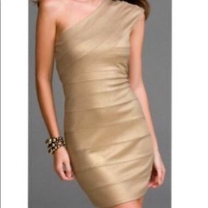 Express metallic gold one shoulder wrap dress